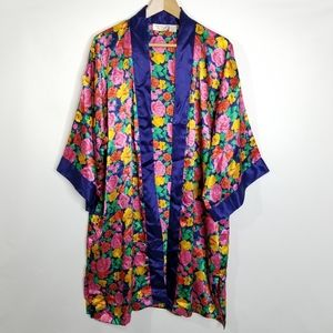 Vintage Victoria's Secret Blue Floral Satin Robe